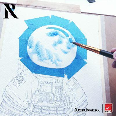 Renaissance สีน้ำ ห้วงอวกาศ